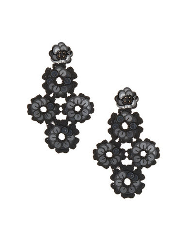 Kate Spade New York Sequin Statement Drop Earrings-BLACK-One Size