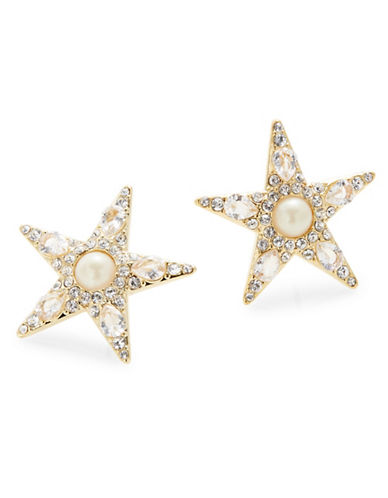 Kate Spade New York Pearl and Crystal Star Stud Earrings-GOLD-One Size