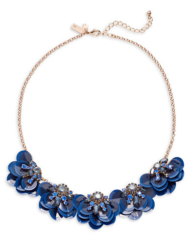 Kate Spade New York Crystal Sequin Floral Necklace-BLUE-One Size