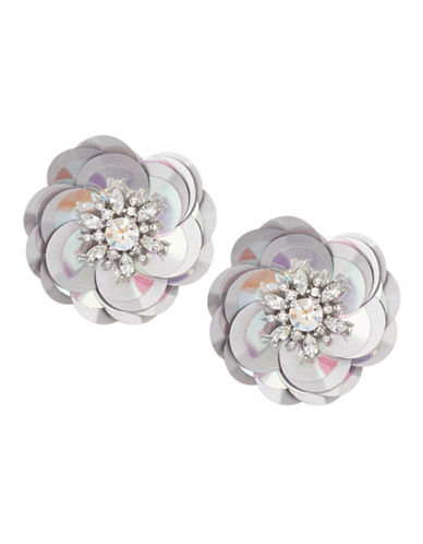 Kate Spade New York Crystal Floral Stud Earrings-SILVER-One Size