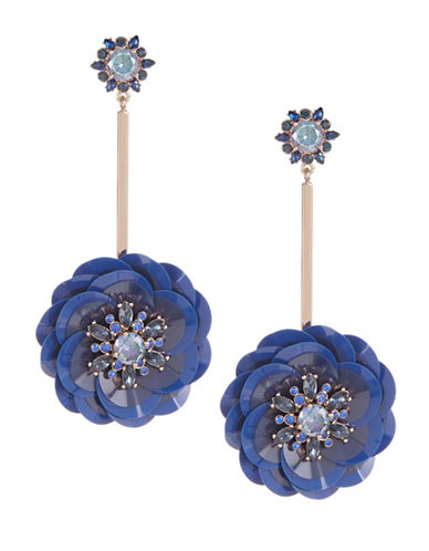 Kate Spade New York Crystal Floral Drop Earrings-BLUE-One Size