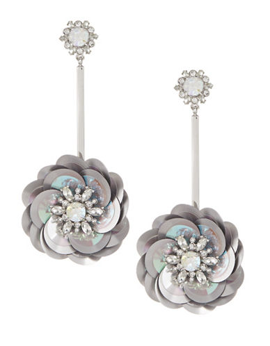 Kate Spade New York Crystal Floral Drop Earrings-SILVER-One Size