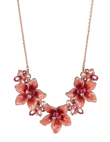 Kate Spade New York Winter Garden Pink Crystal Statement Necklace-PINK-One Size