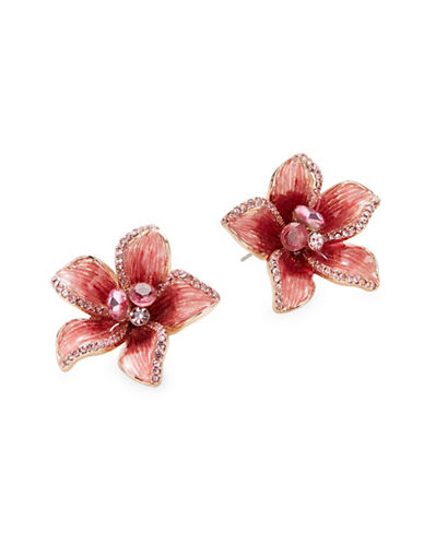 Kate Spade New York Pink Crystal Floral Stud Earrings-PINK-One Size