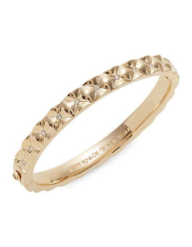 Kate Spade New York Crystal Quilt Goldtone Bangle Bracelet-GOLD-One Size