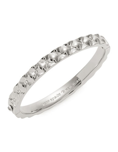 Kate Spade New York Crystal Quilt Silvertone Bangle Bracelet-SILVER-One Size