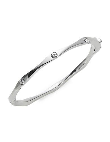 Kate Spade New York Crystal Silvertone Wave Bangle Bracelet-SILVER-One Size