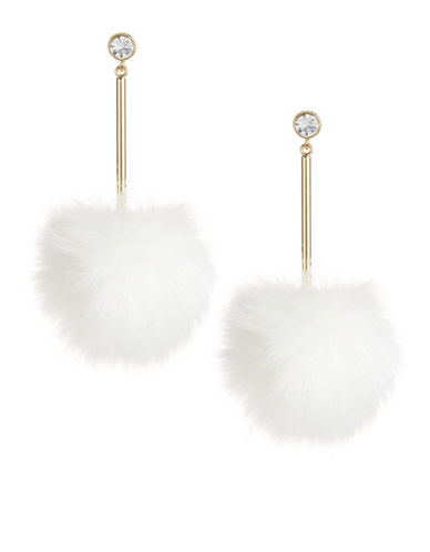 Kate Spade New York White Pouf Earrings-WHITE-One Size