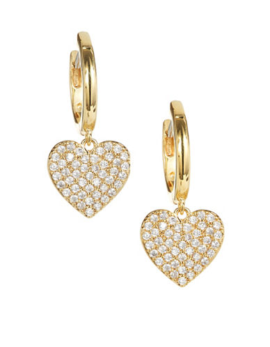 Kate Spade New York Yours Truly Pavé Crystal Heart Drop Earrings-GOLD-One Size