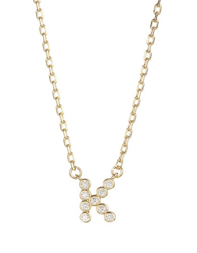 Kate Spade New York Crystal K Pendant Necklace-GOLD-One Size