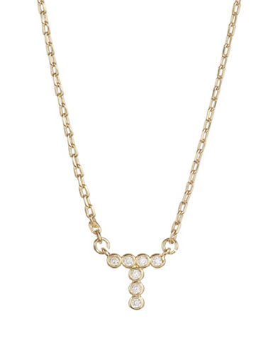 Kate Spade New York Crystal T Pendant Necklace-GOLD-One Size