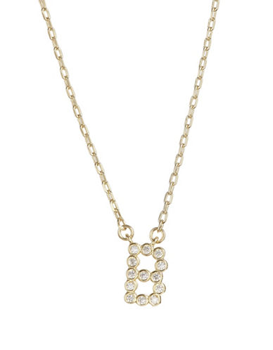 Kate Spade New York Crystal B Pendant Necklace-GOLD-One Size