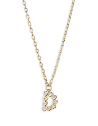 Kate Spade New York Crystal D Pendant Necklace-GOLD-One Size