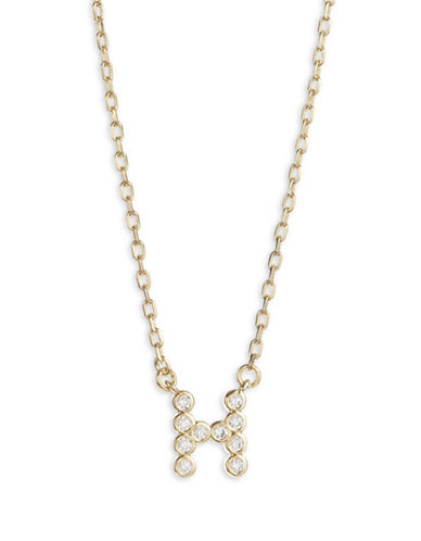 Kate Spade New York Crystal H Pendant Necklace-GOLD-One Size