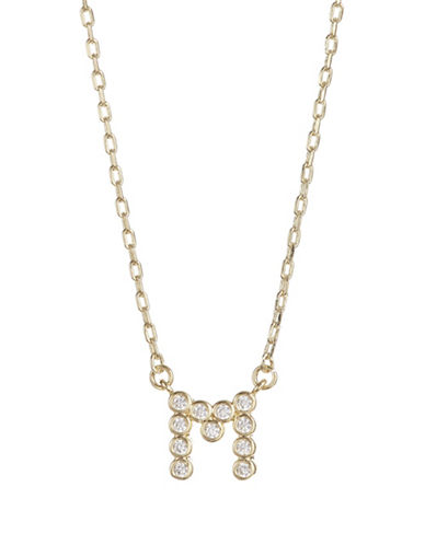Kate Spade New York Crystal M Pendant Necklace-GOLD-One Size