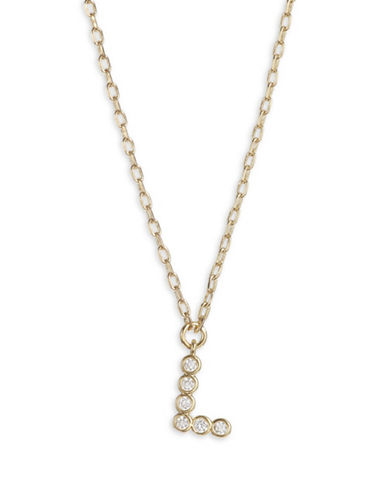 Kate Spade New York Crystal L Pendant Necklace-GOLD-One Size
