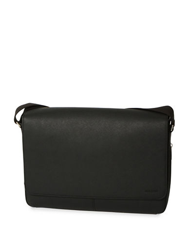 Jack Spade Barrow Leather Messenger Bag-BLACK-One Size