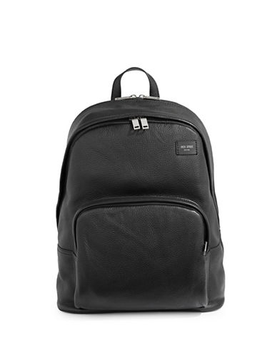 Jack Spade Zip Leather Backpack-BLACK-One Size