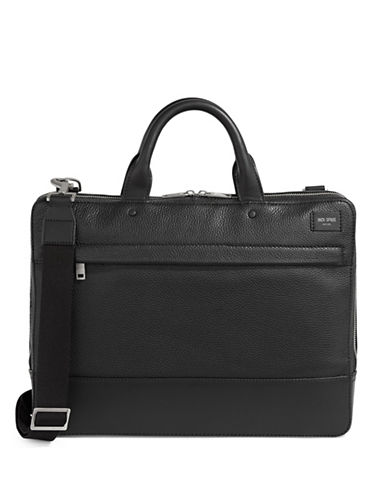 Jack Spade Slim Leather Briefcase-BLACK-One Size
