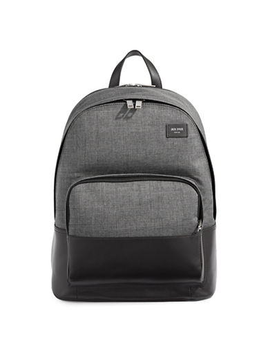 Jack Spade Two-Tone Zip Leather Backpack-GREY-One Size