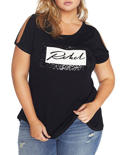 Rebel Wilson Graphic Swing Tee-BLACK BEAUTY-1X