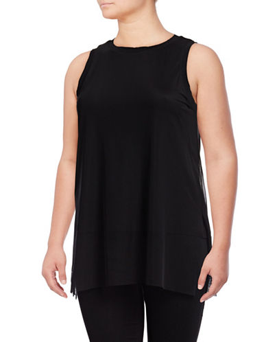 Rebel Wilson Sleeveless Mesh Overlay Top-BLACK BEAUTY-3X