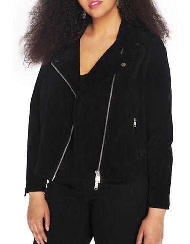Rebel Wilson Suede Moto Jacket-BLACK-2X