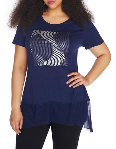 Rebel Wilson Short Sleeve Top-BLUE-1X