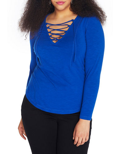 Rebel Wilson Long Sleeve Slub Jersey Tee-BLUE-1X