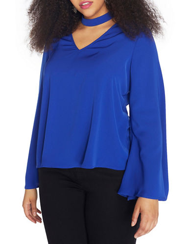 Rebel Wilson Long Bell Sleeve Top-BLUE-18W