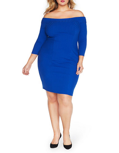 Rebel Wilson Off-The-Shoulder Bodycon Dress-BLUE-2X