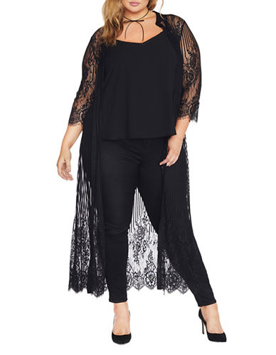 Rebel Wilson Decorative Lace Button-Down Cardigan-BLACK-1X