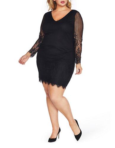 Rebel Wilson Long Sleeve Lace Dress-BLACK-18W