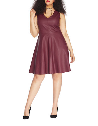 Rebel Wilson Faux Leather Fit-and-Flare Dress-ROYALE-22W
