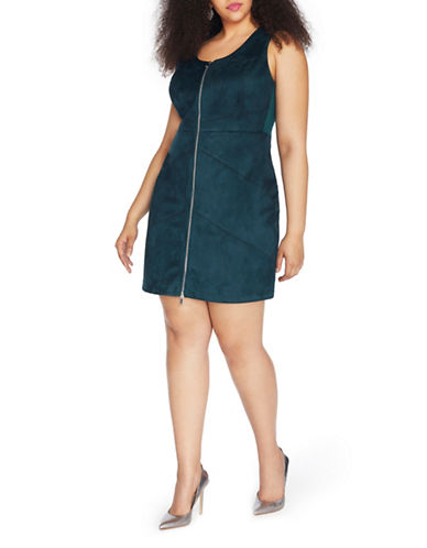 Rebel Wilson Suede Sleeveless Dress-GREEN-16W