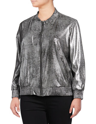 Rebel Wilson Metallic Bomber Jacket-BLACK/SILVER-2X