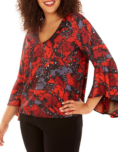 Rebel Wilson Floral Swing-Sleeve Top-RUBY ROCK-2X