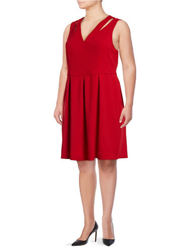 Rebel Wilson Pleated Cut-Out Flare Dress-HAUTE RED-1X