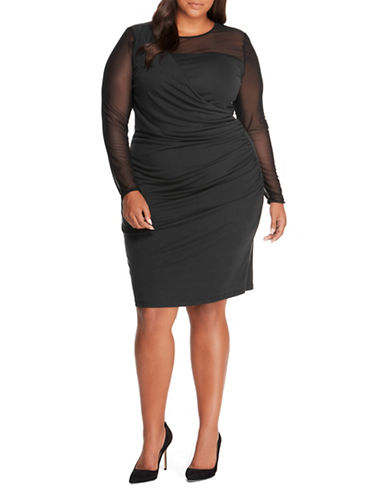 Rebel Wilson Mesh Jersey Drape Dress-BLACK-1X