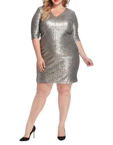 Rebel Wilson Matte Sequin Knee-Length Dress-SILVER-16W