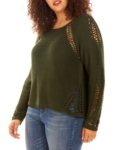Rebel Wilson Scoop Neck Long Sleeve Sweater-GREEN-1X