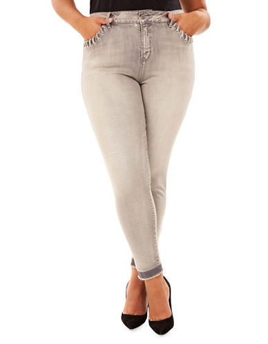 Rebel Wilson Frayed Skinny Jeans-GREY-24W