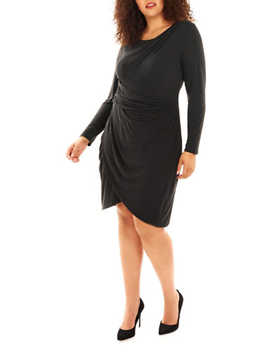 Rebel Wilson Draped Wrap Dress-BLACK-18W