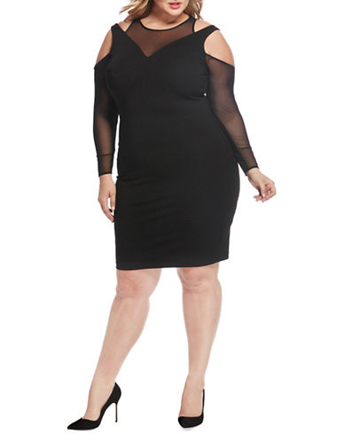Rebel Wilson Mesh Cold Shoulder Bodycon Dress-BLACK-1X