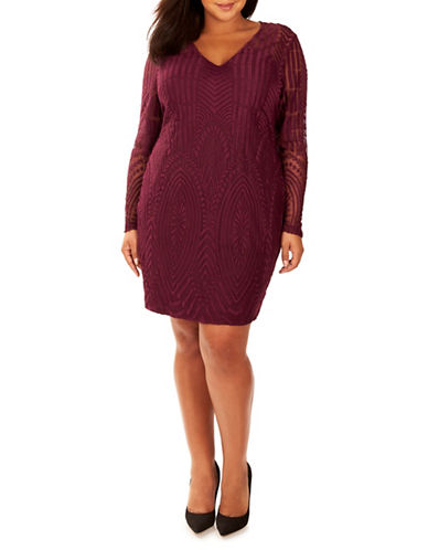Rebel Wilson Lace Embroidered Dress-PURPLE-14W