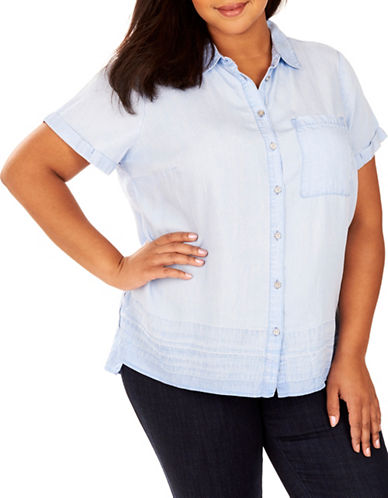 Rebel Wilson Button-Up Chambray Shirt-BLUE-2X