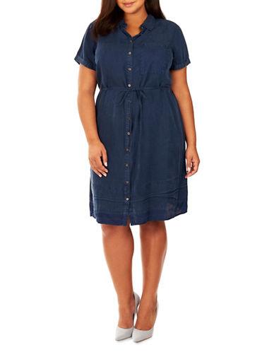 Rebel Wilson Chambray Button-Up Dress-BLUE-1X