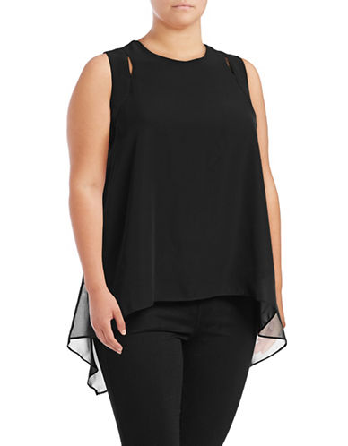 Rebel Wilson Cut-Out Layered Top-BLACK-3X