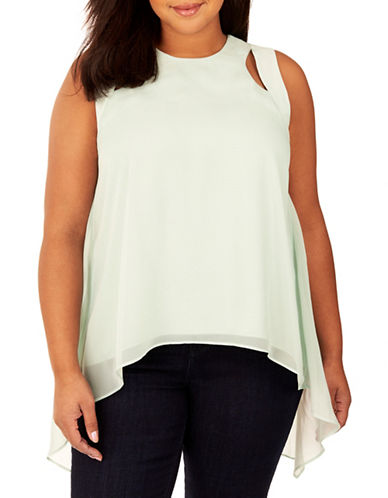 Rebel Wilson Cut-Out Layered Top-GREEN-1X