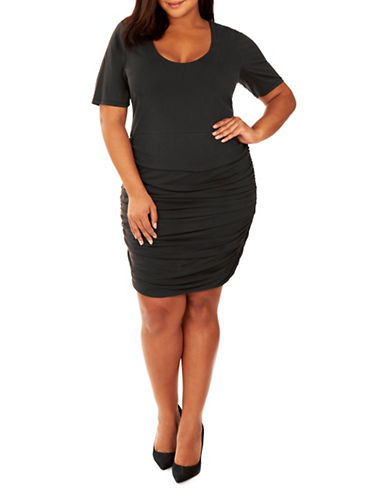 Rebel Wilson Ruched Sheath Dress-BLACK-1X